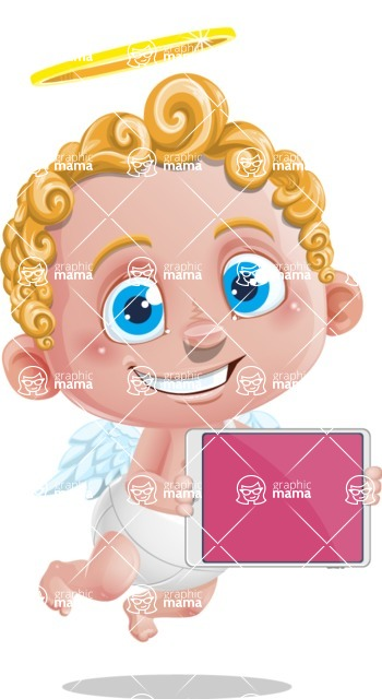 Cupid Cartoon Character - Cartoon Cupid with Tablet 2