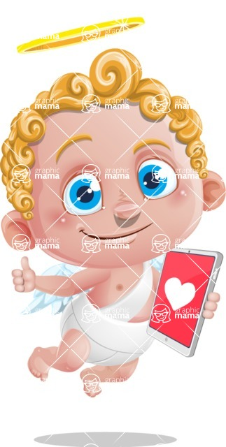 Cupid Cartoon Character - Cartoon Cupid with Tablet 3