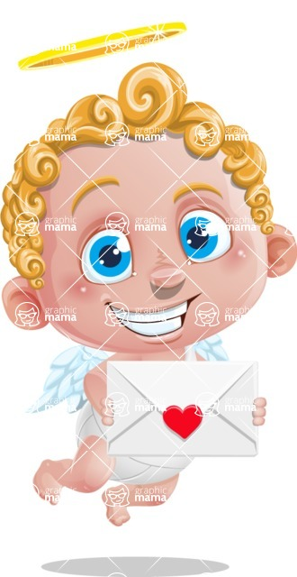 Cupid Cartoon Character - Cartoon Cupid with Valentine's Day Card