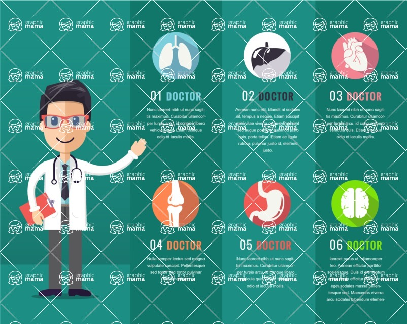 Medical Vectors - Mega bundle - Man Doctor Showing Medicine Infographic