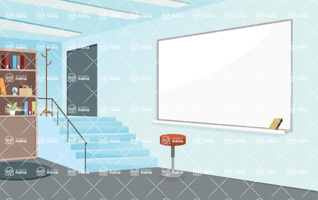 Room Backgrounds Vector Collection - Blue Presentation Room Vector Background