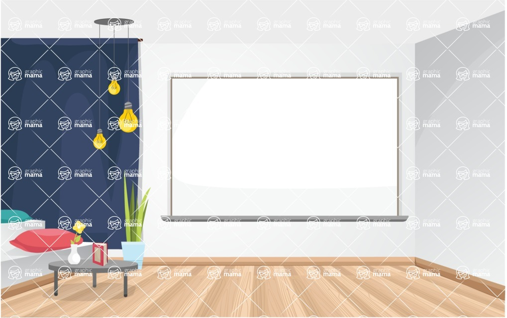 Room Backgrounds Vector Collection - Modern Office Room Interior Vector Background