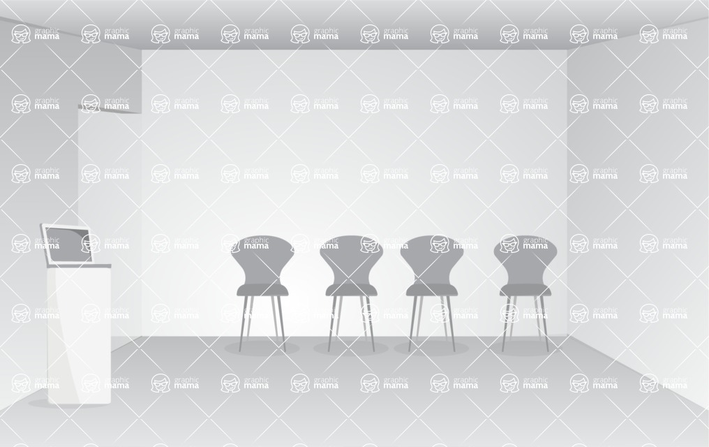 Room Backgrounds Vector Collection - Monochrome Conference Room Vector Background