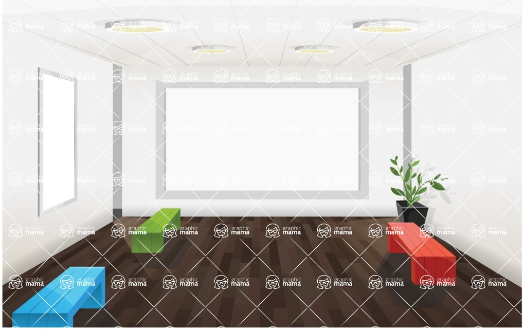 Room Backgrounds Vector Collection - Multimedia Room Vector Background