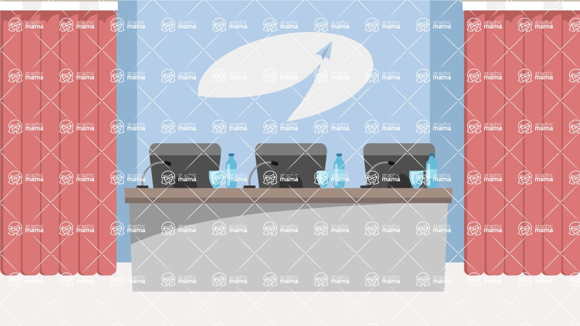 Room Backgrounds Vector Collection - Press Conference Room Vector Illustration