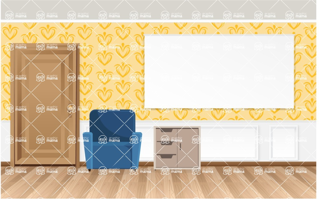 Room Backgrounds Vector Collection - Realistic Vector Room Interior with Presentation Board