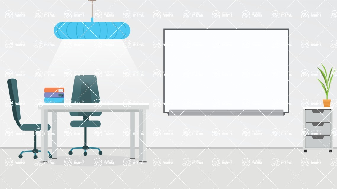 Room Backgrounds Vector Collection - Meeting Room and Presentation Board Vector
