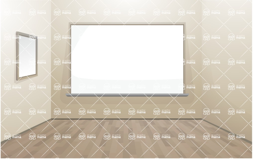 Room Backgrounds Vector Collection - Room Interior with Whiteboard Vector Background