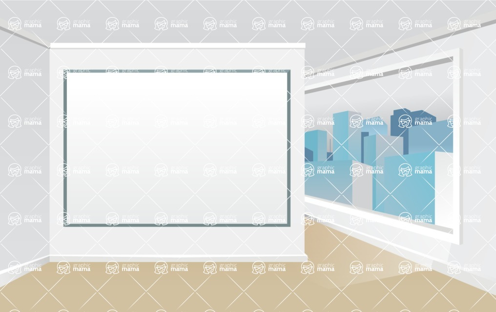 Room Backgrounds Vector Collection - Vector Presentation Room Interior with Skyline View