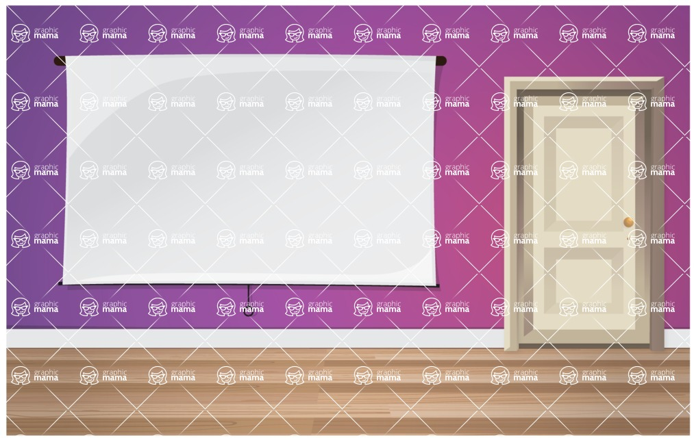 Room Backgrounds Vector Collection - Vector Room with Presentation Board Template