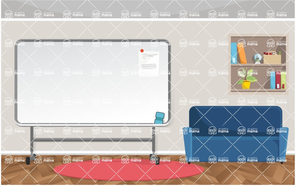 Room Backgrounds Vector Collection - Vector Room with Whiteboard for Presentations