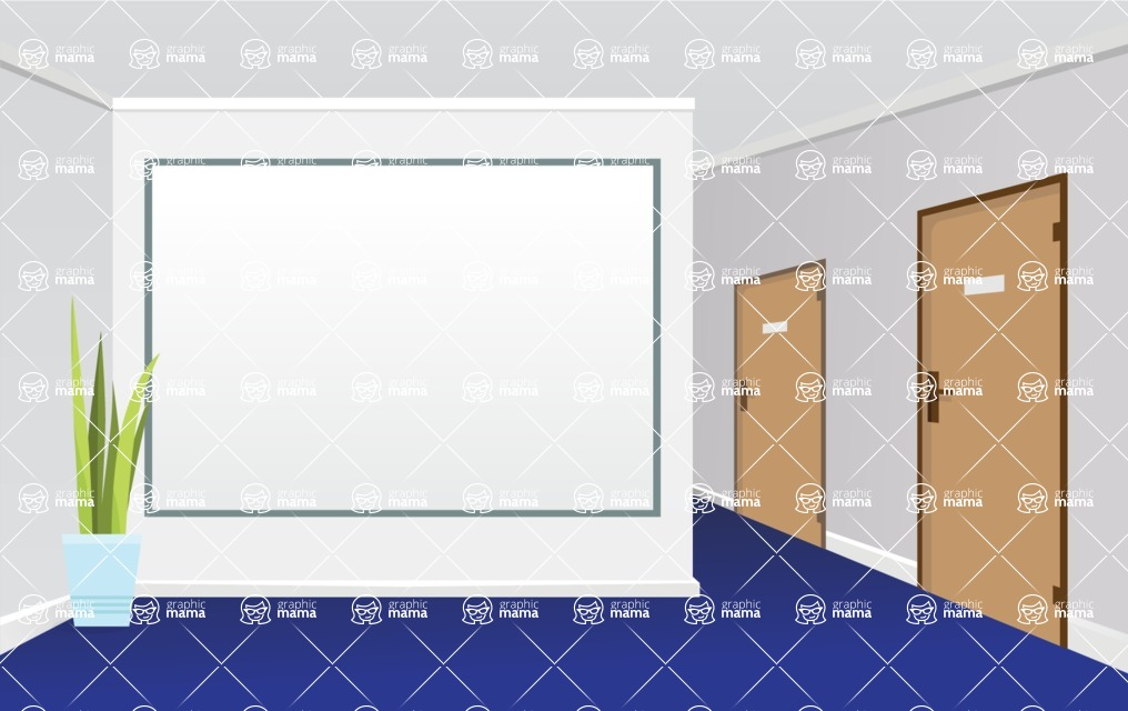 Room Backgrounds Vector Collection - Vector Room with Whiteboard Mockup