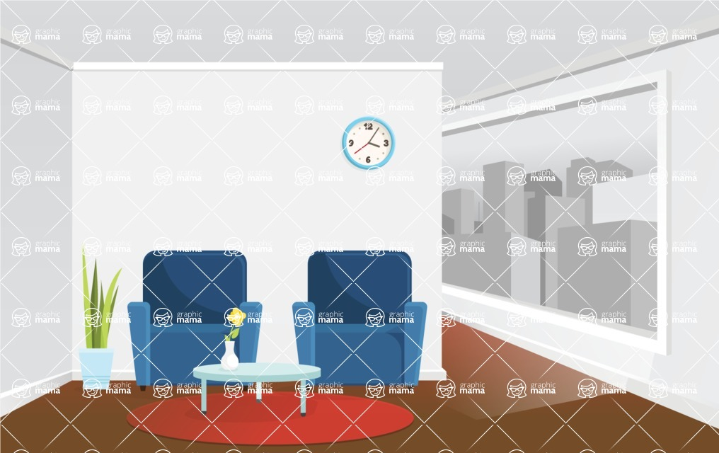 Room Backgrounds Vector Collection - Waiting Room Vector Interior
