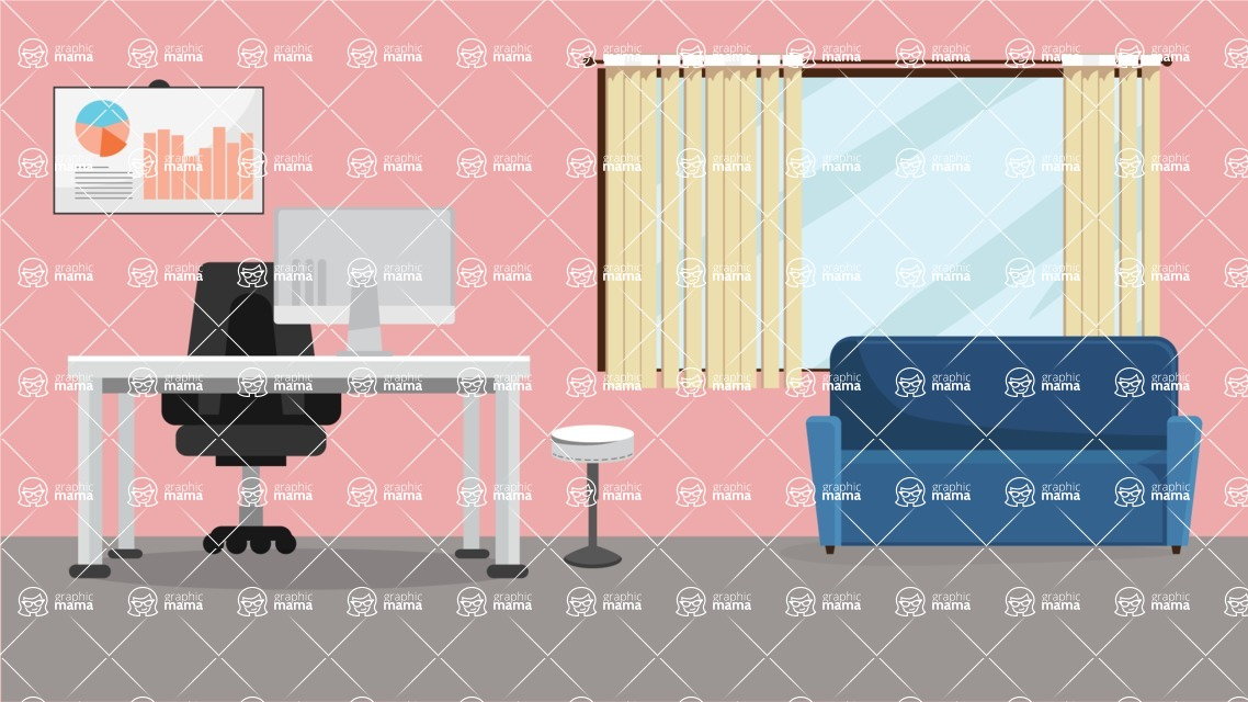 Room Backgrounds Vector Collection - Workspace Interior Vector Background