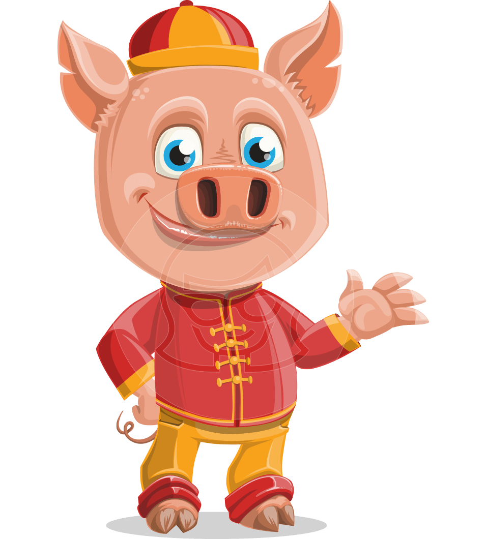Year of the Pig Character - Vector Pig Cartoon