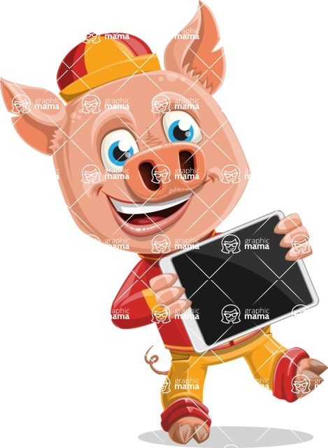 Year of the Pig Character - Vector Pig Cartoon - Year of the Pig Vector Character holding an iPad