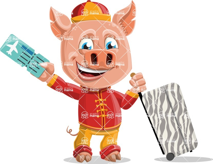 Year of the Pig Character - Vector Pig Cartoon - Traveling Year of the Pig Vector Character with Suitcase