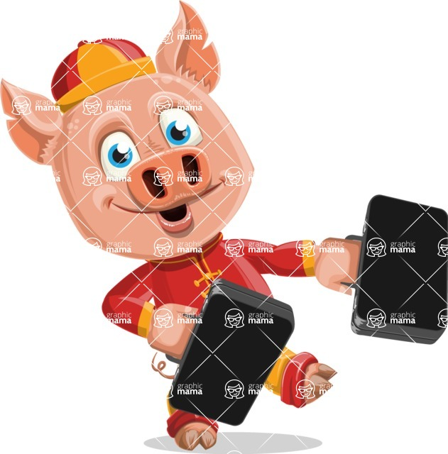 Year of the Pig Character - Vector Pig Cartoon - Year of the Pig Vector Character Briefcases