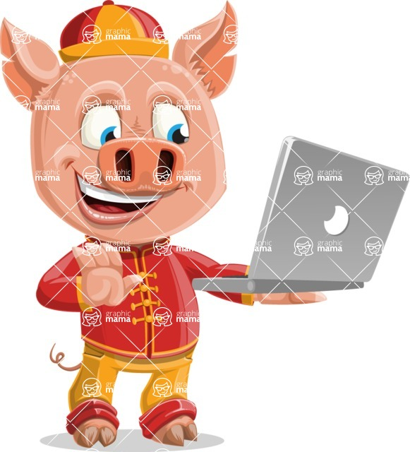 Year of the Pig Character - Vector Pig Cartoon - Year of the Pig Vector Character holding a Laptop