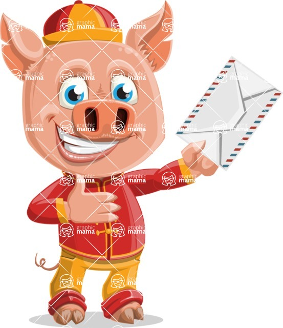 Year of the Pig Character - Vector Pig Cartoon - Year of the Pig Vector Character Holding a Letter
