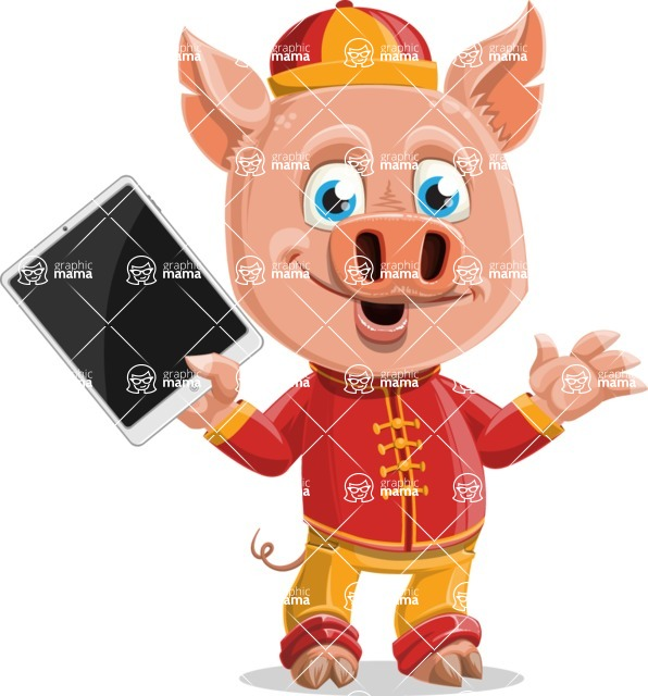Year of the Pig Character - Vector Pig Cartoon - Year of the Pig Vector Character holding a Tablet