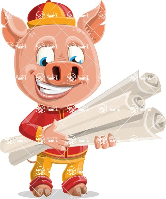 Year of the Pig Character - Vector Pig Cartoon - Year of the Pig Vector Character making Plans