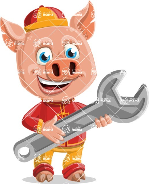 Year of the Pig Character - Vector Pig Cartoon - Year of the Pig Vector Character Repairing
