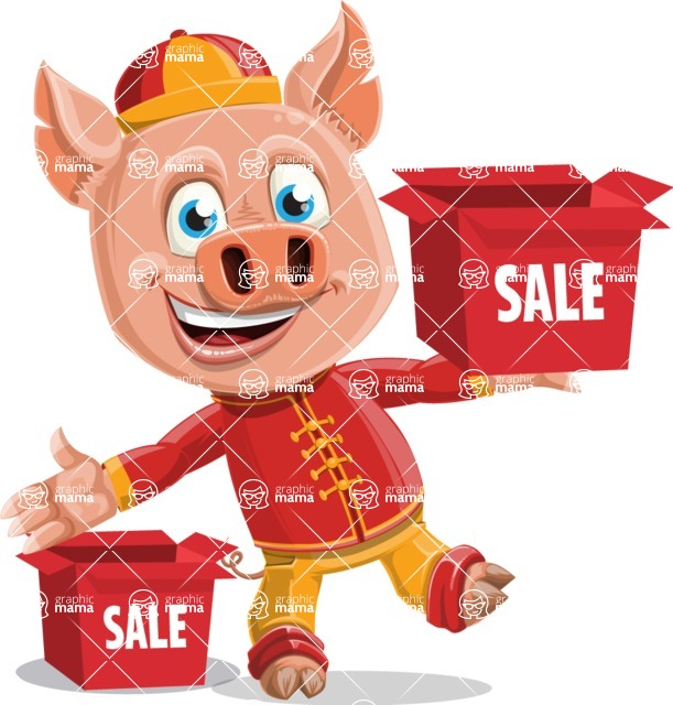 Year of the Pig Character - Vector Pig Cartoon - Year of the Pig Vector Character Sale