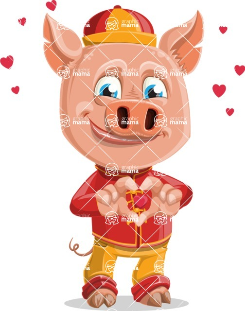 Year of the Pig Character - Vector Pig Cartoon - Year of the Pig Vector Character Showing Love
