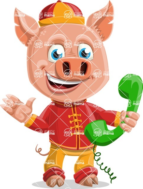 Year of the Pig Character - Vector Pig Cartoon - Year of the Pig Vector Character Talking on a Phone