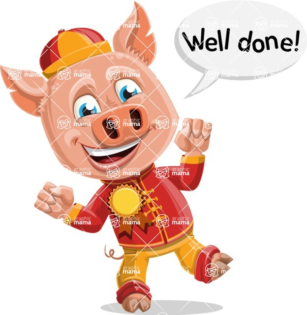 Year of the Pig Character - Vector Pig Cartoon - Year of the Pig Vector Character Wining