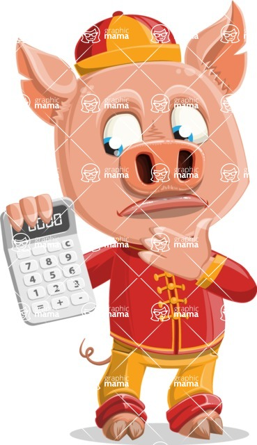 Year of the Pig Character - Vector Pig Cartoon - Year of the Pig Vector Character with a Calculator