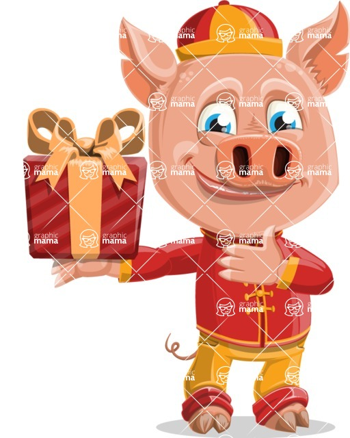 Year of the Pig Character - Vector Pig Cartoon - Year of the Pig Vector Character with a Gift