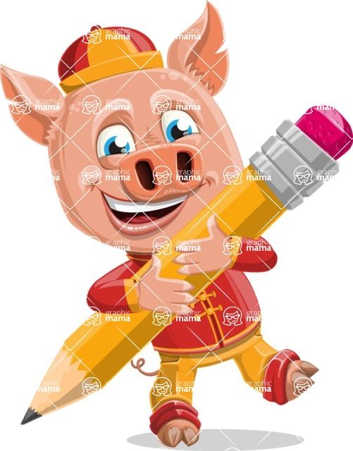 Year of the Pig Character - Vector Pig Cartoon - Year of the Pig Vector Character with a Pencil