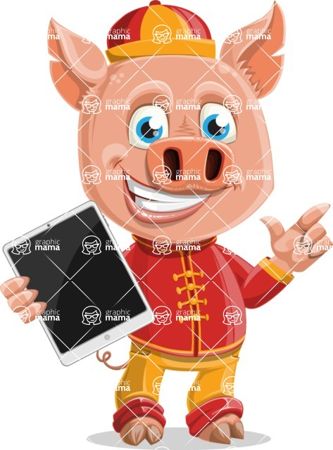 Year of the Pig Character - Vector Pig Cartoon - Year of the Pig Vector Character with an iPad
