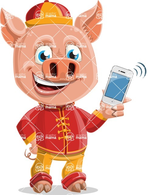 Year of the Pig Character - Vector Pig Cartoon - Year of the Pig Vector Character with an iPhone
