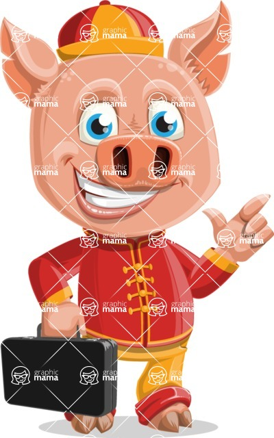 Year of the Pig Character - Vector Pig Cartoon - Year of the Pig Vector Character with Briefcase