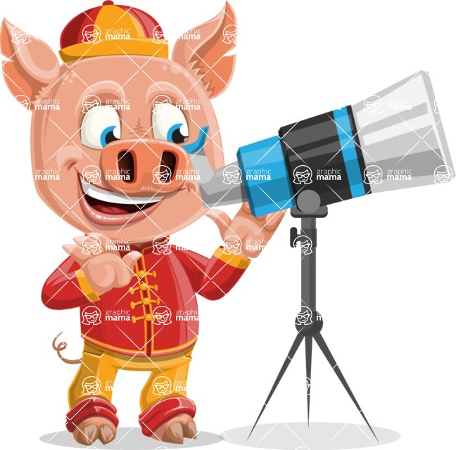 Year of the Pig Character - Vector Pig Cartoon - Year of the Pig Vector Character with Clock with Telescope