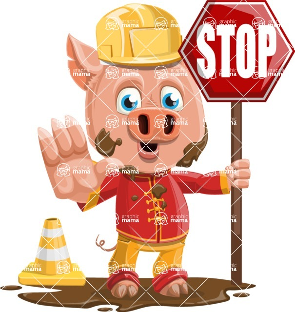 Year of the Pig Character - Vector Pig Cartoon - Year of the Pig Vector Character with Under Construction Sign