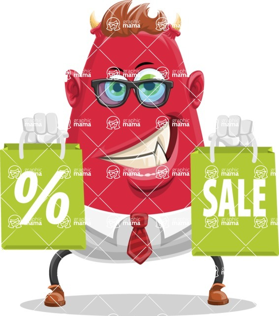 Business Monster Cartoon Character - Business Monster Cartoon with Shopping Bags