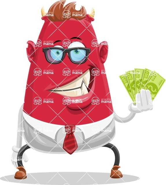 Business Monster Cartoon Character - Business Monster Cartoon Character with Cash Money