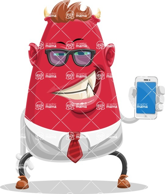 Business Monster Cartoon Character - Business Monster Cartoon Character with Phone