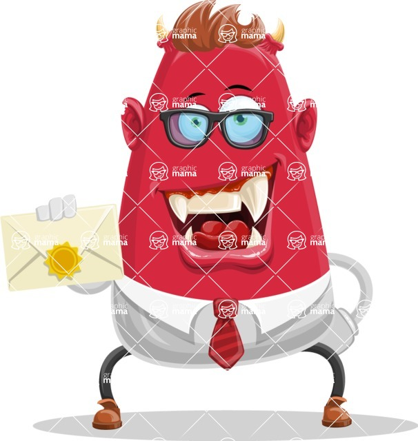 Business Monster Cartoon Character - Business Monster Cartoon with Mail