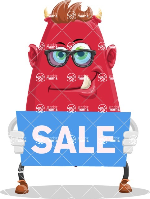 Business Monster Cartoon Character - Business Monster Cartoon with Sale Banner 1
