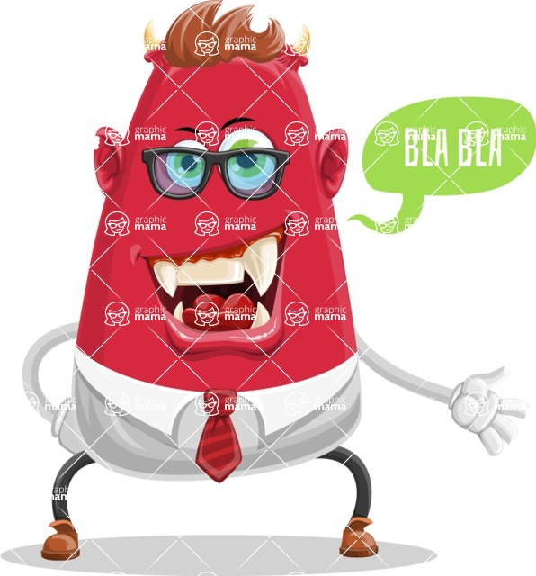 Business Monster Cartoon Character - Talking Business Monster Character with Speech Bubble