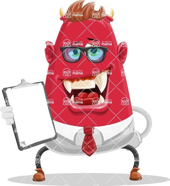 Business Monster Cartoon Character - Vector Business Monster Cartoon with Notepad