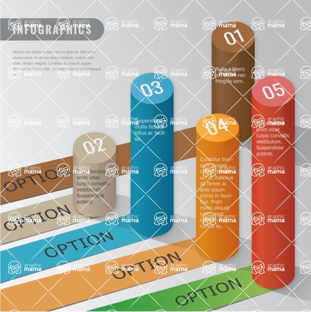 Infographic Templates Collection - Vector, Photoshop, PowerPoint, Google Slides - Modern Vector Abstract 3D Cylinder Infographic Template