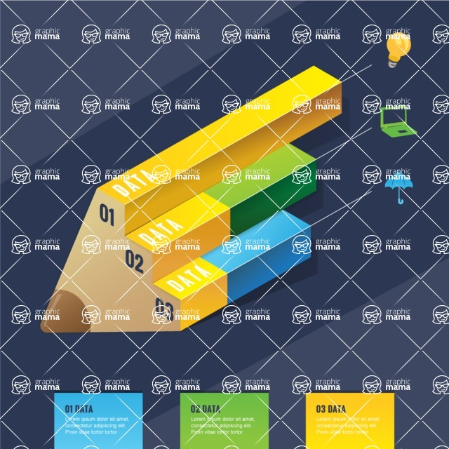 Infographic Template Collection - Isometric Infographic Template with 3D Pencil