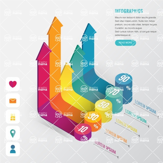Infographic Template Collection - Modern 3D Infographic Template with Percentage Chart