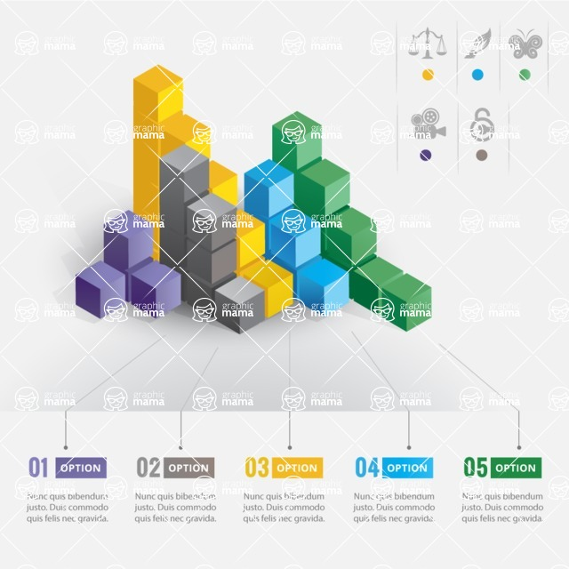 Infographic Template Collection - Vector Infographic Template with Colorful 3D Cubes